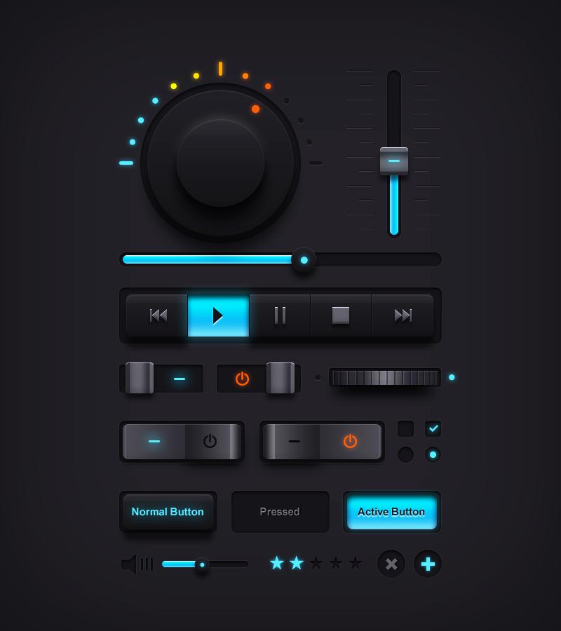 Dark WebUI  MUSIC kit  - Free PSD by YesIMaDesigner
