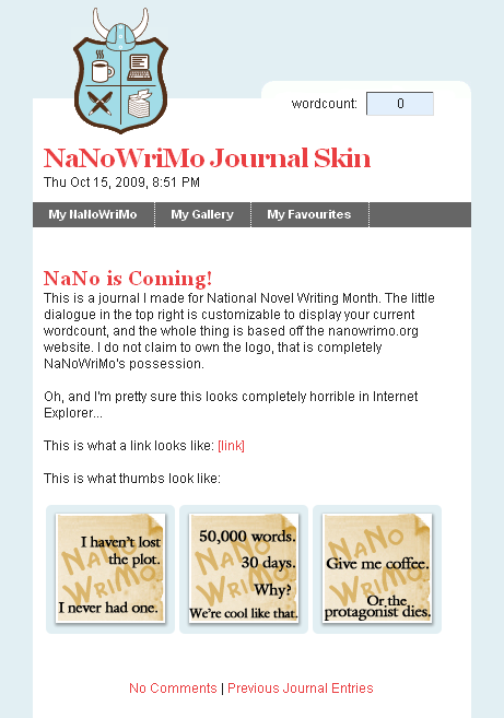 NaNoWriMo Journal Skin by moonfreak