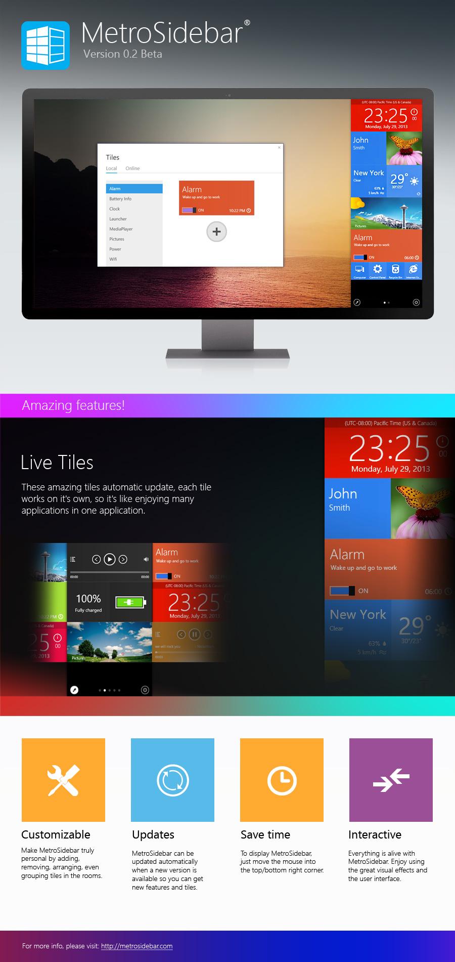 MetroSidebar الجيل الجديد برنامج Windows Sidebar