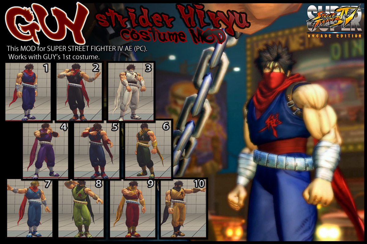 SSF4AE GUY - strider Hiryu costume MOD by dsFOREST