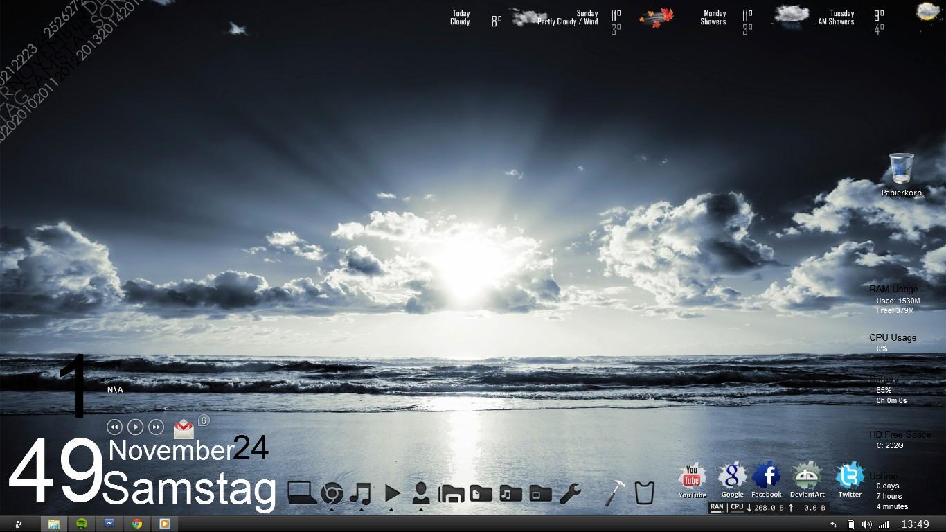 my desktop from my Second Laptop Rainmeter by anttiiiii