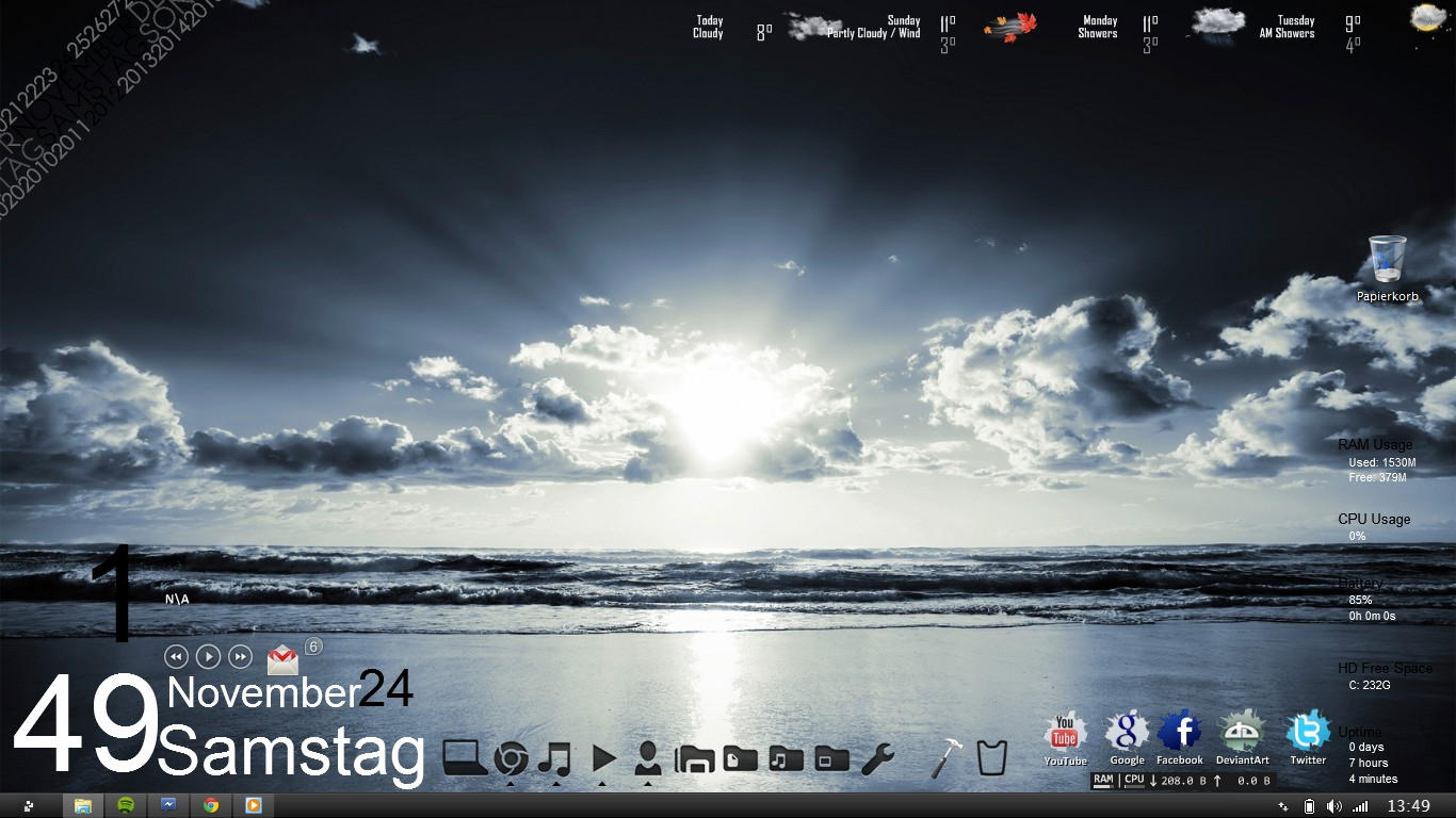 my desktop from my Second Laptop Samurize by anttiiiii