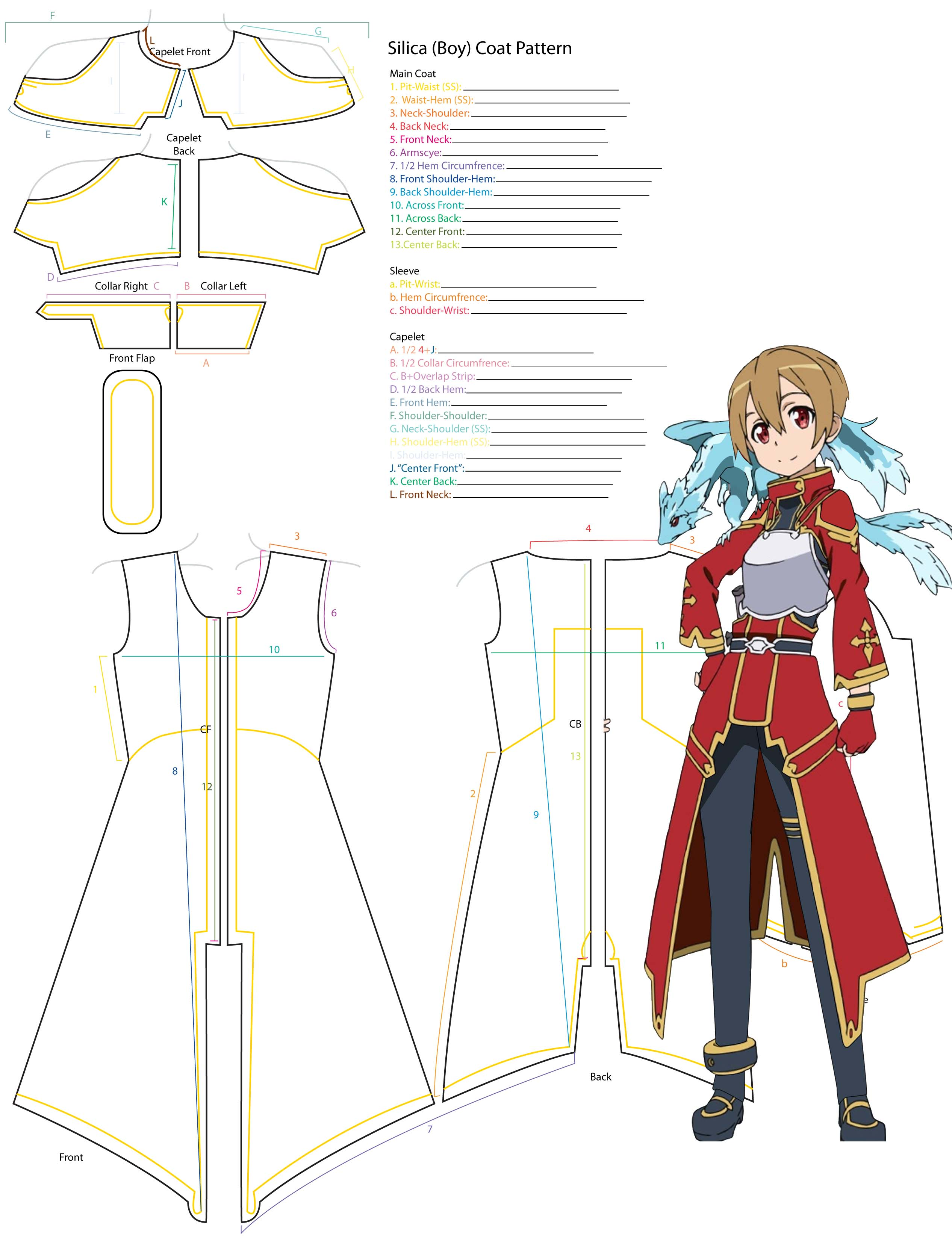 Boy Silica Overcoat Pattern Template by YumeLifeCosplay on DeviantArt