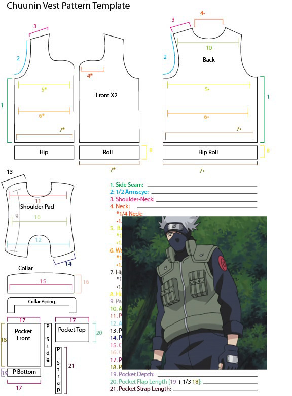 Chuunin Vest Pattern Template by YumeLifeCosplay on DeviantArt