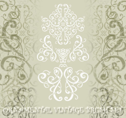 Ornamental vintage brush set 1