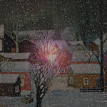 Snowing in village, at night by agevla77