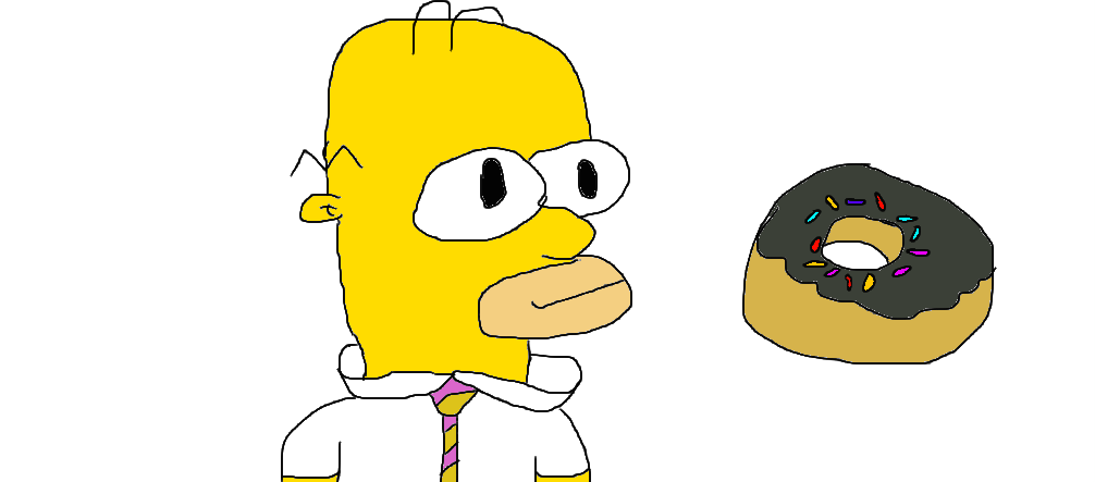 Homer Simpson With A Donut By TannerE