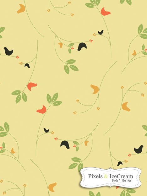 Seamless Tile BirdsNberries by pixelsandicecream
