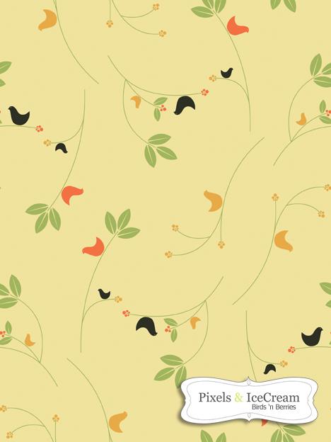 Seamless Tile BirdsNberries by pixelsandicecream