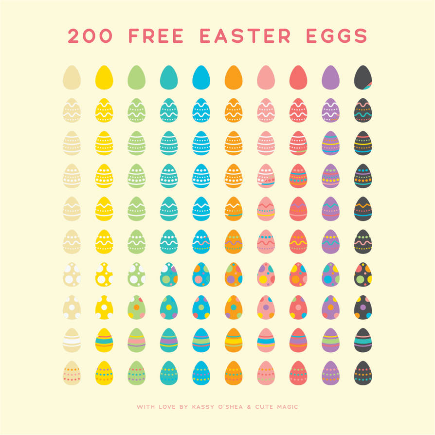 200 Free Digital Vector Easter Eggs by apparate