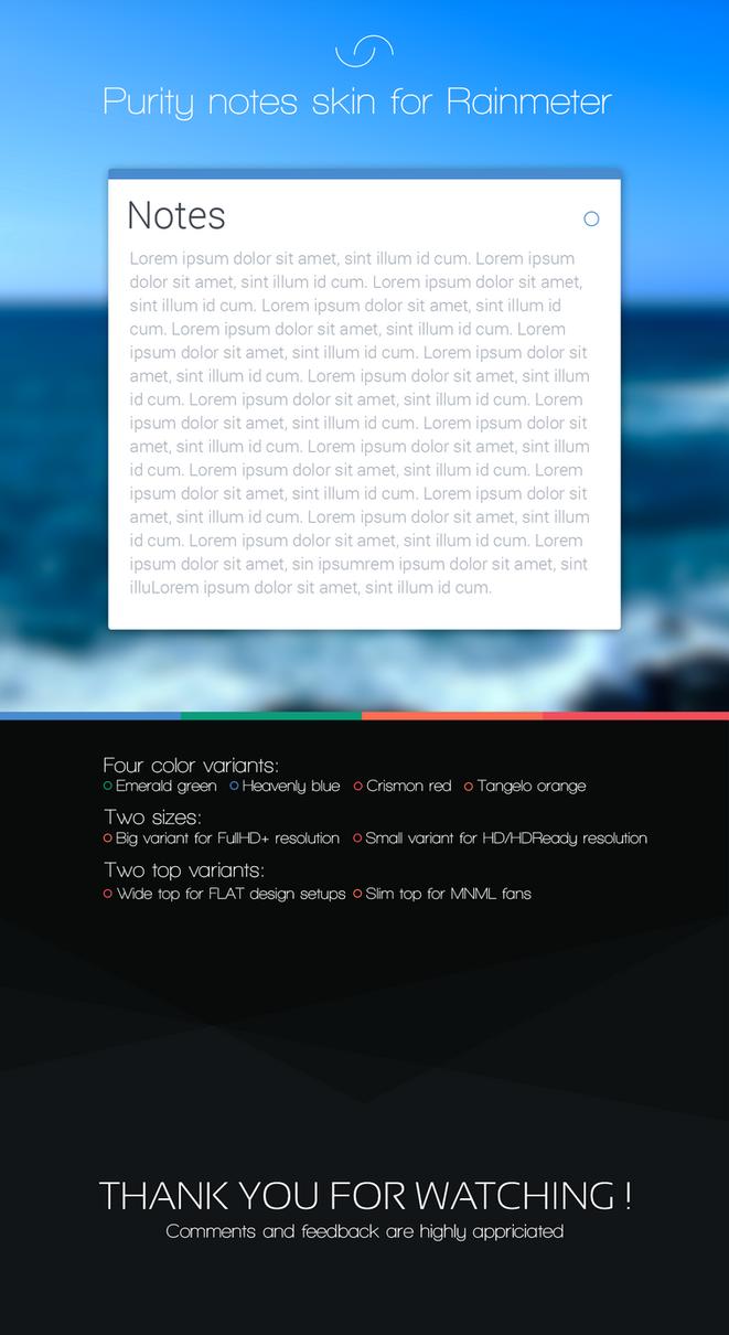 [RAINMETER]Purity Notes Skin by Rasvob