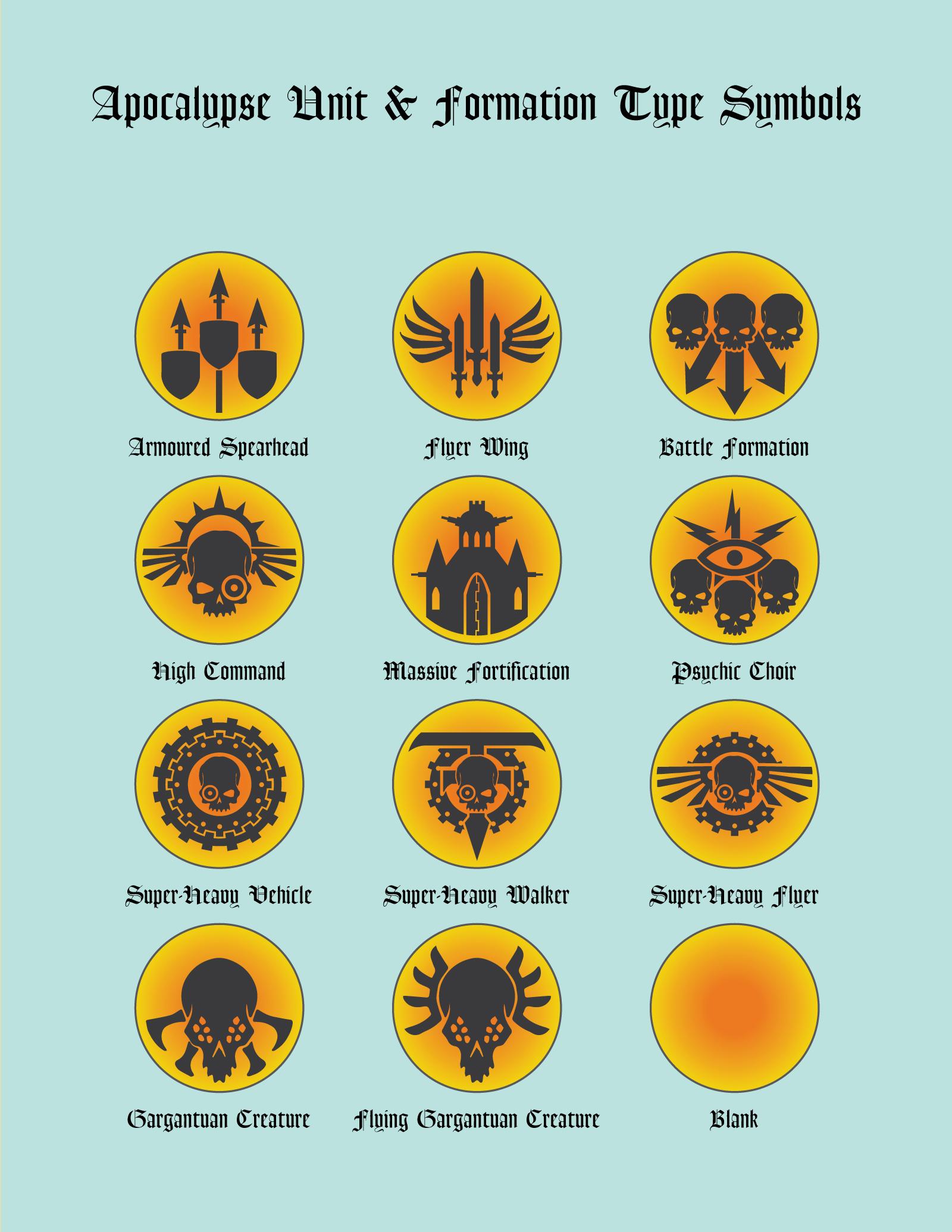 Apocalypse Unit Type Symbols