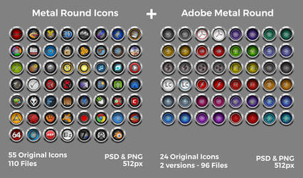 Metal Round Icons + Adobe Metal Round