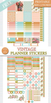 Free Vintage Planner Stickers for Erin Condren