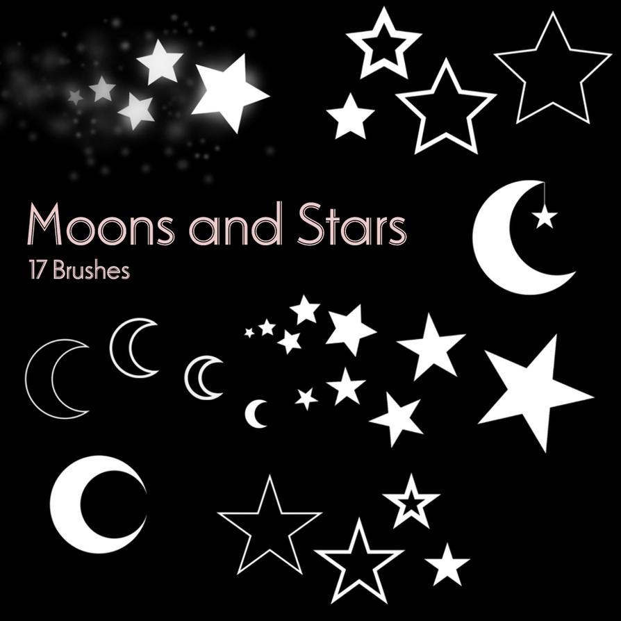 Moons and Stars - 17 Brushes by Ashqtara