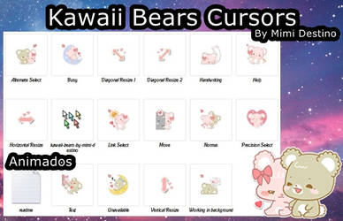 Kawaii Cute Sweet Bears Cursors Set/Pack by Mimi-Destino