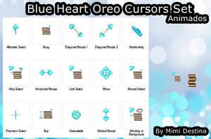Kawaii Cute Blue Heart Oreo Cursors Cursores by Mimi-Destino