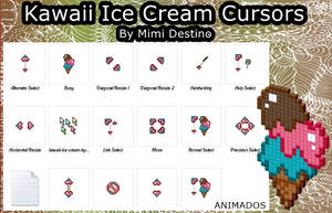 Cute Kawaii Ice Cream Cursors Set/Pack by Mimi-Destino