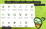 Sweet Cute Kawaii Green Ice Cream Cursors Set