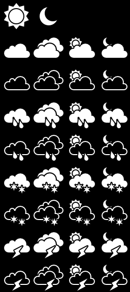 Monochrome Weather Icons - For Pebble