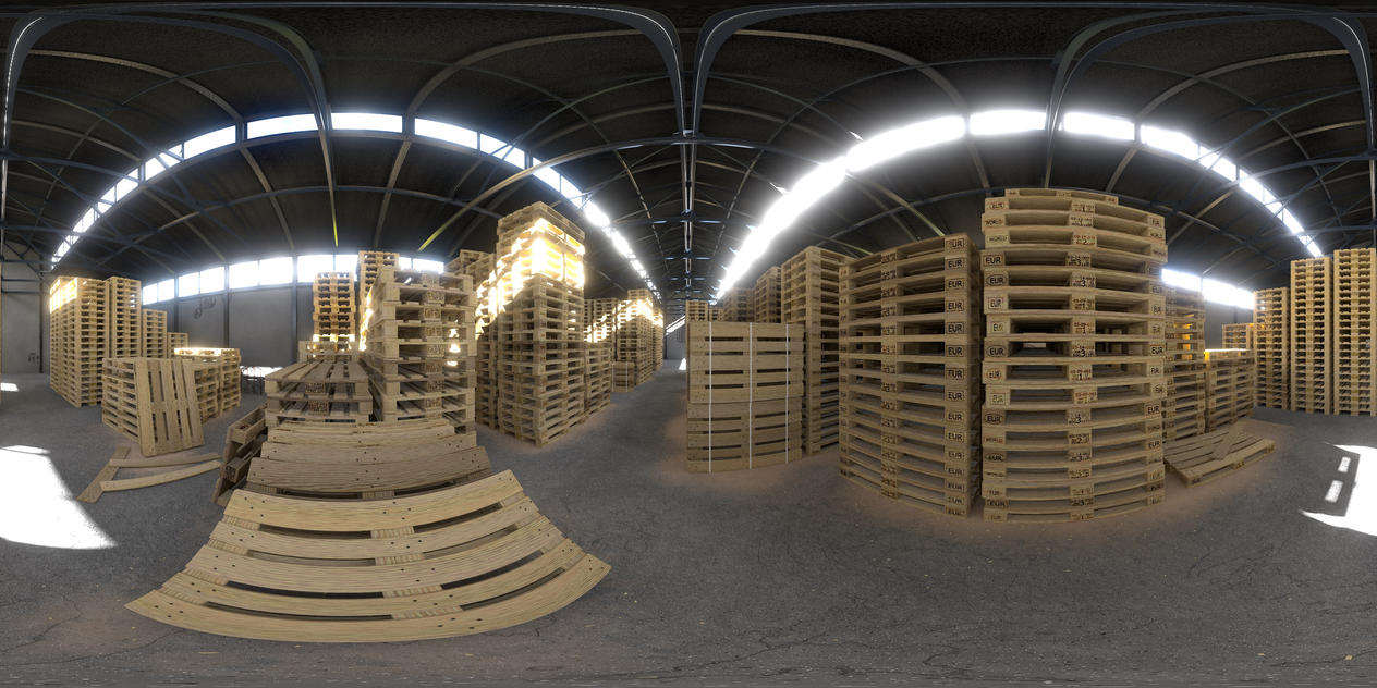 Environment HDRi - Warehouse with Pallets by zephyris