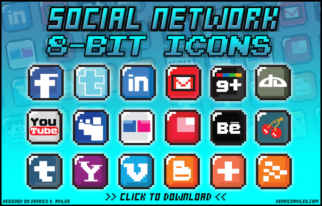 8-Bit Social Media Icon Blocks by davilesdesigns