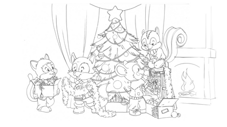 Comm: Christmas Tree (lineart for coloring)