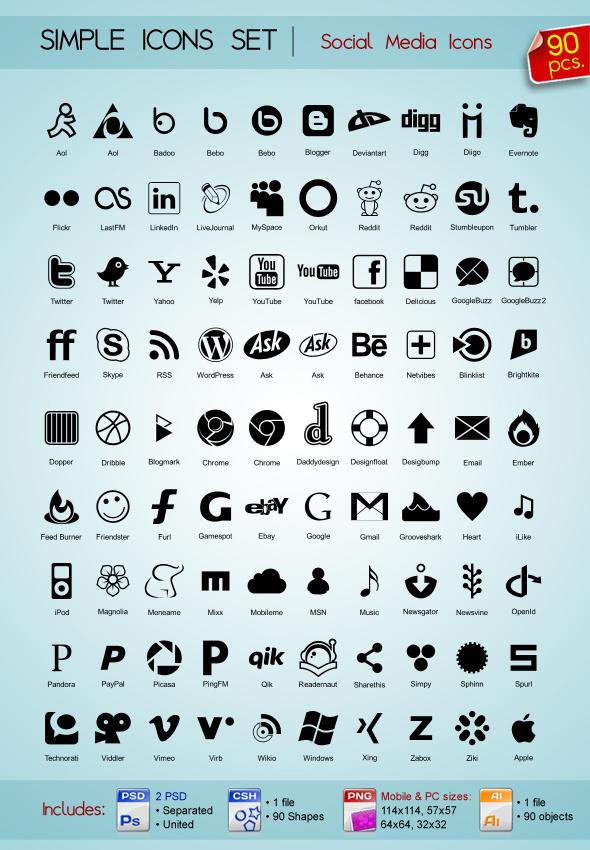 90 Social Media icons by Sergey-Alekseev