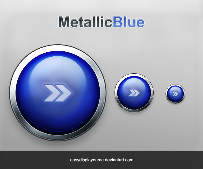 Metallic Blue Button by easydisplayname