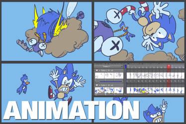 Sonic vs Buzz Bomber gif Animation