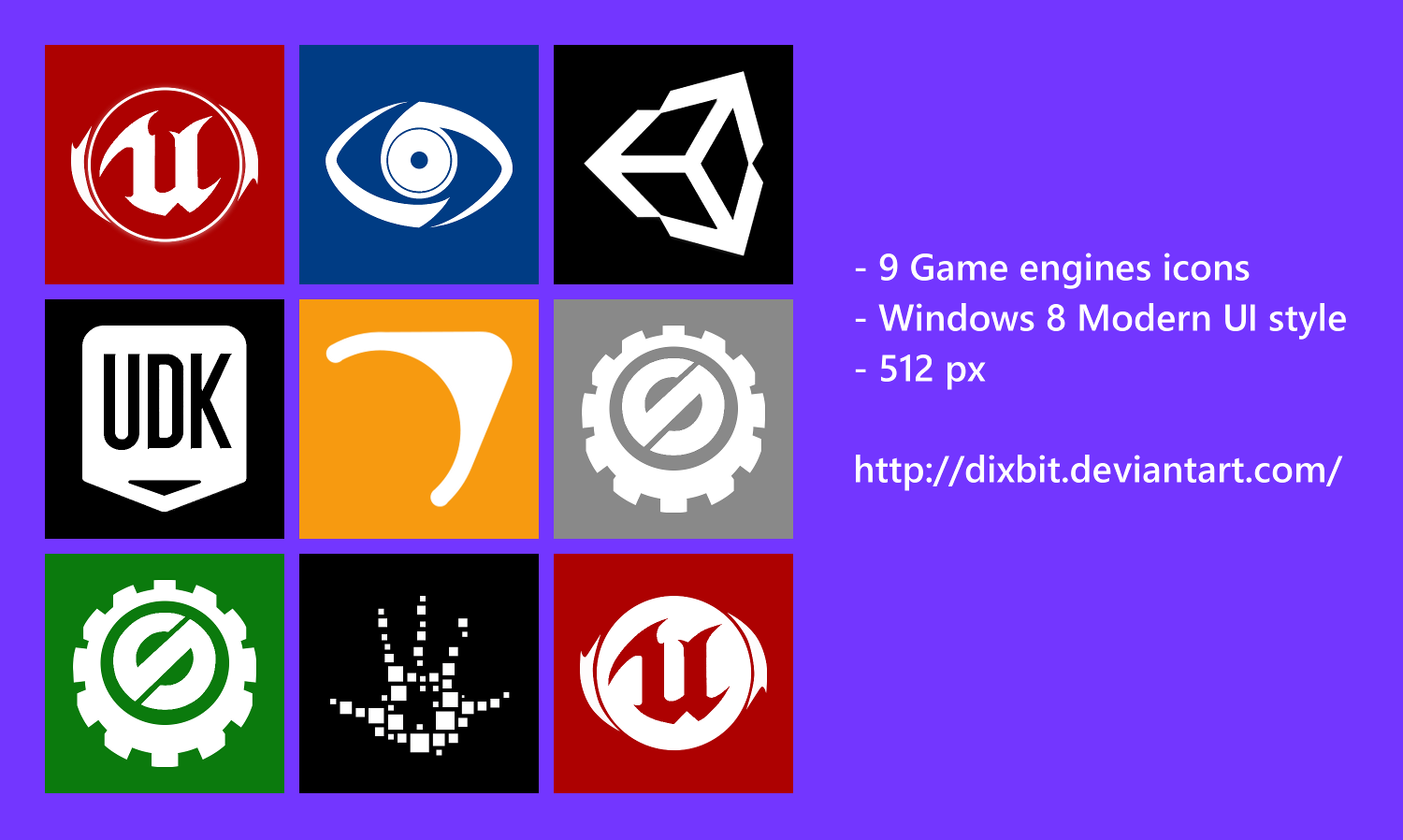 Game engines Modern UI Icon pack