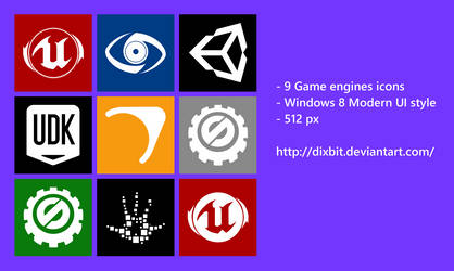 Game engines Modern UI Icon pack by Dixbit