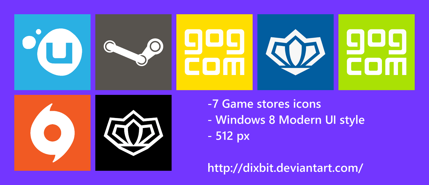 Game Stores Modern UI Icon Pack by Dixbit