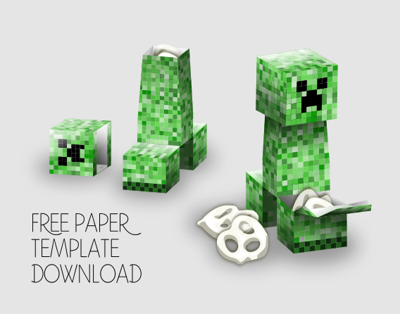 Minecraft Creeper Party Favor Box (Feet) by Gaddia