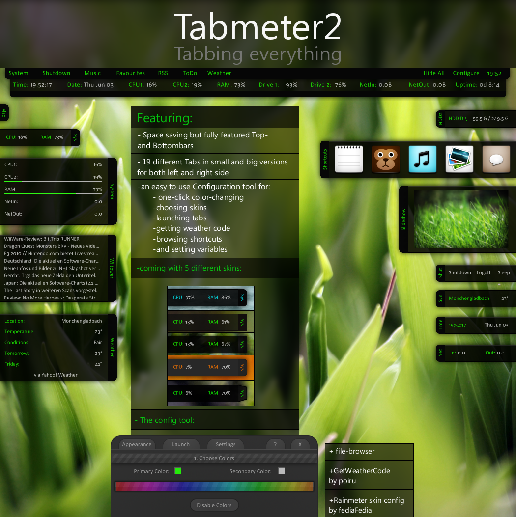 Tabmeter2 by toastbrotpascal on deviantart for Bureau windows 7 rainmeter