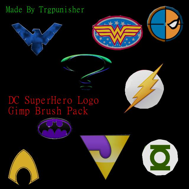 dc superhero logo gimp brush pack 1 by trgpunisher on deviantart