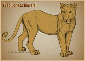 FREE Lioness lineart 2014 by LeoNoy