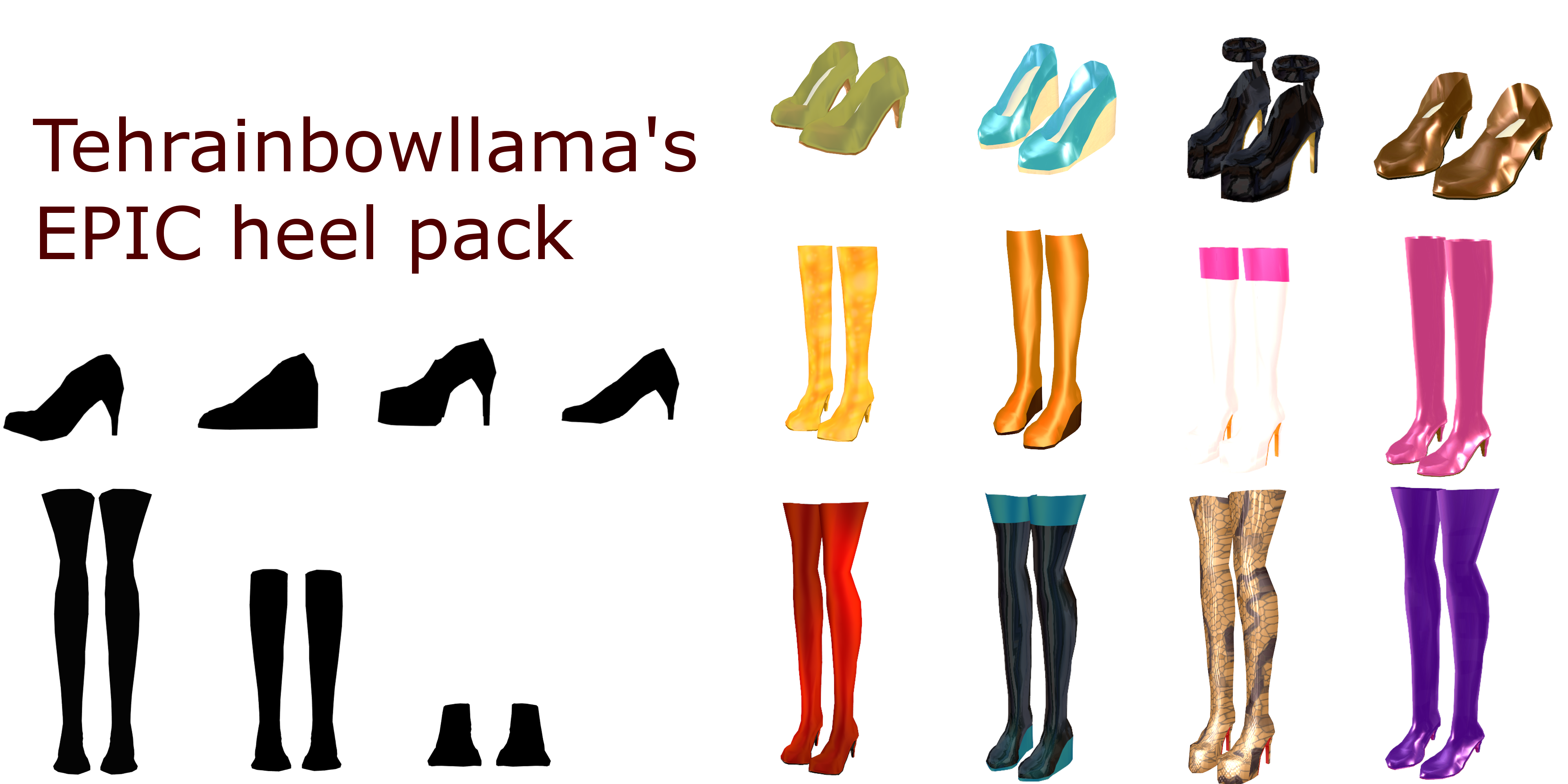 tehrainbowllama's epic mmd heel pack by Tehrainbowllama