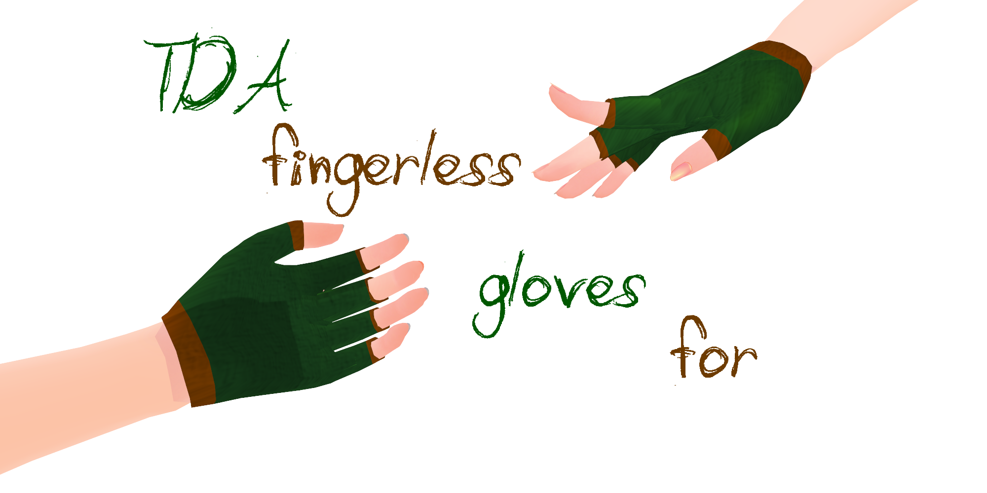 MMD fingerless TDA gloves by Tehrainbowllama
