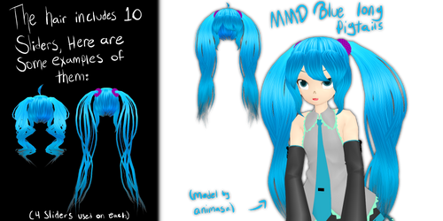 MMD Blue Long Pigtails (with sliders) by Tehrainbowllama