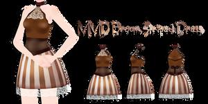 MMD Brown Striped Dress