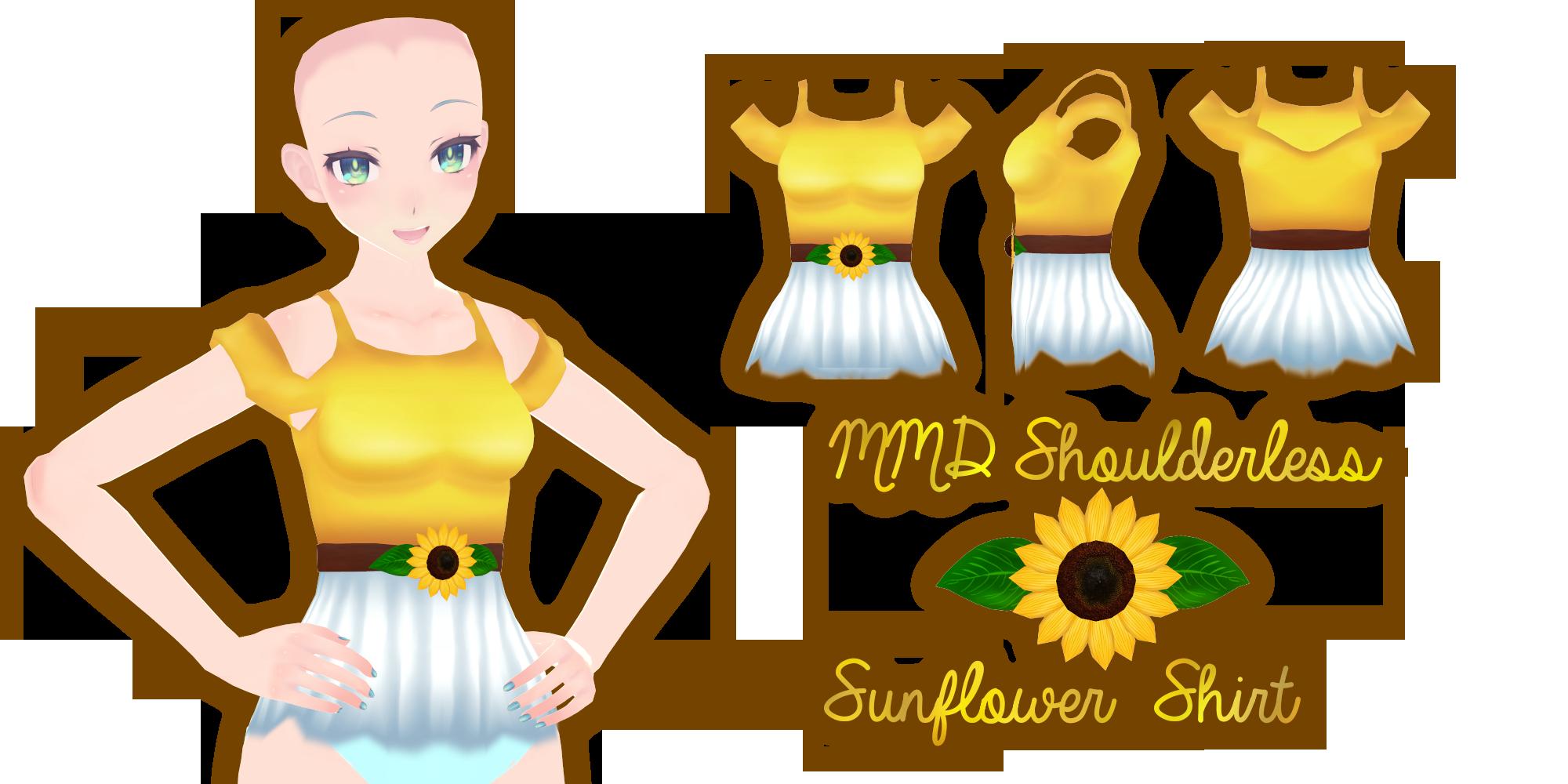 MMD Shoulderless Sunflower Shirt by Tehrainbowllama