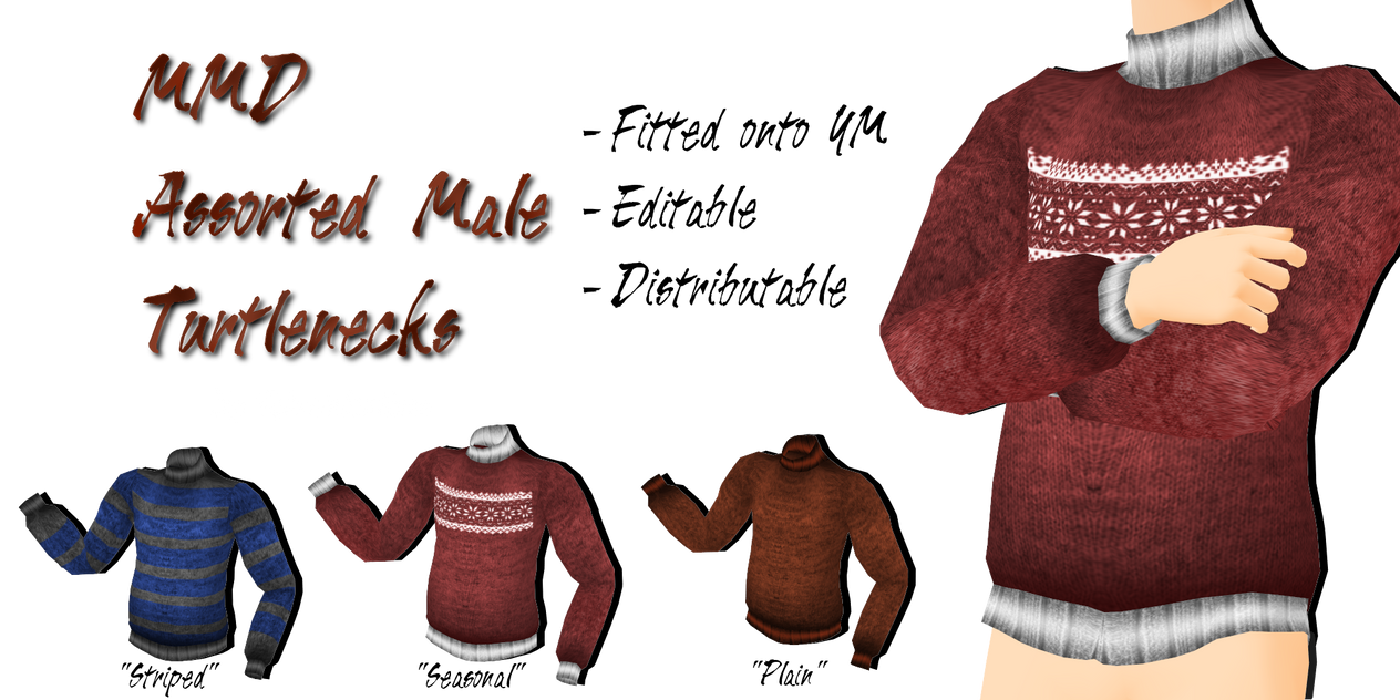 MMD Assorted Male Turtlenecks by Tehrainbowllama