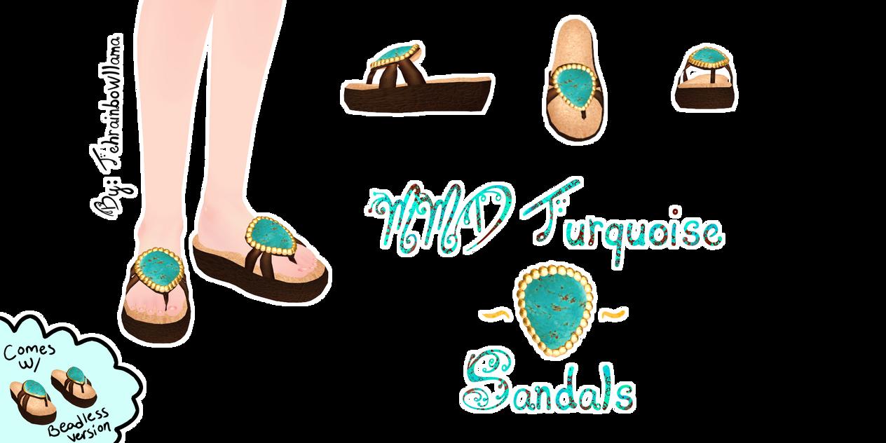 MMD Turquoise Sandals by Tehrainbowllama