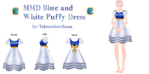 MMD Blue and White Puffy Dress