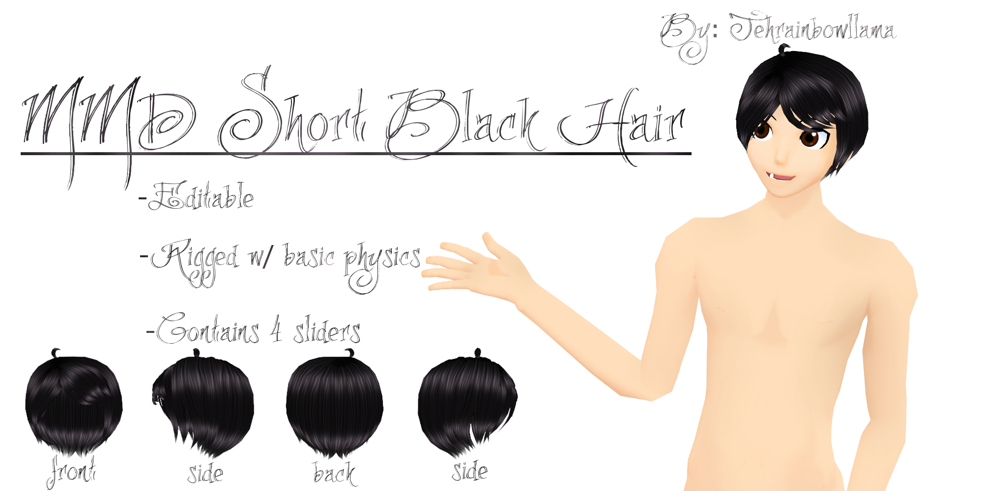 MMD Short Black Hair by Tehrainbowllama