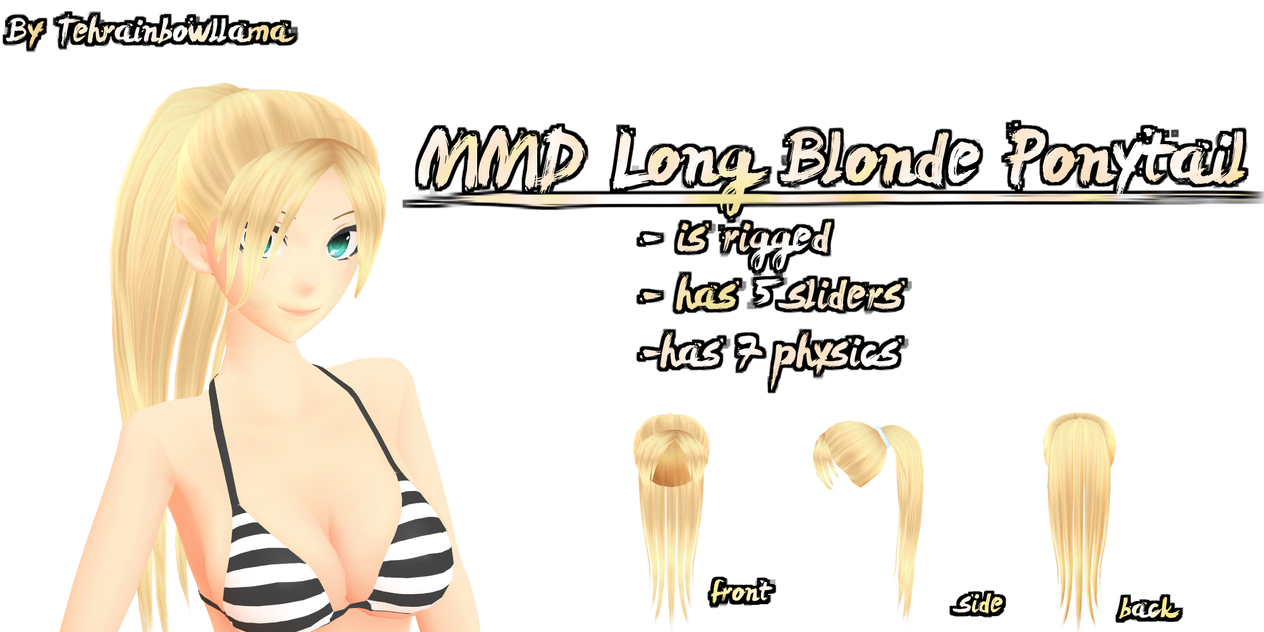 MMD Long Blonde Ponytail by Tehrainbowllama