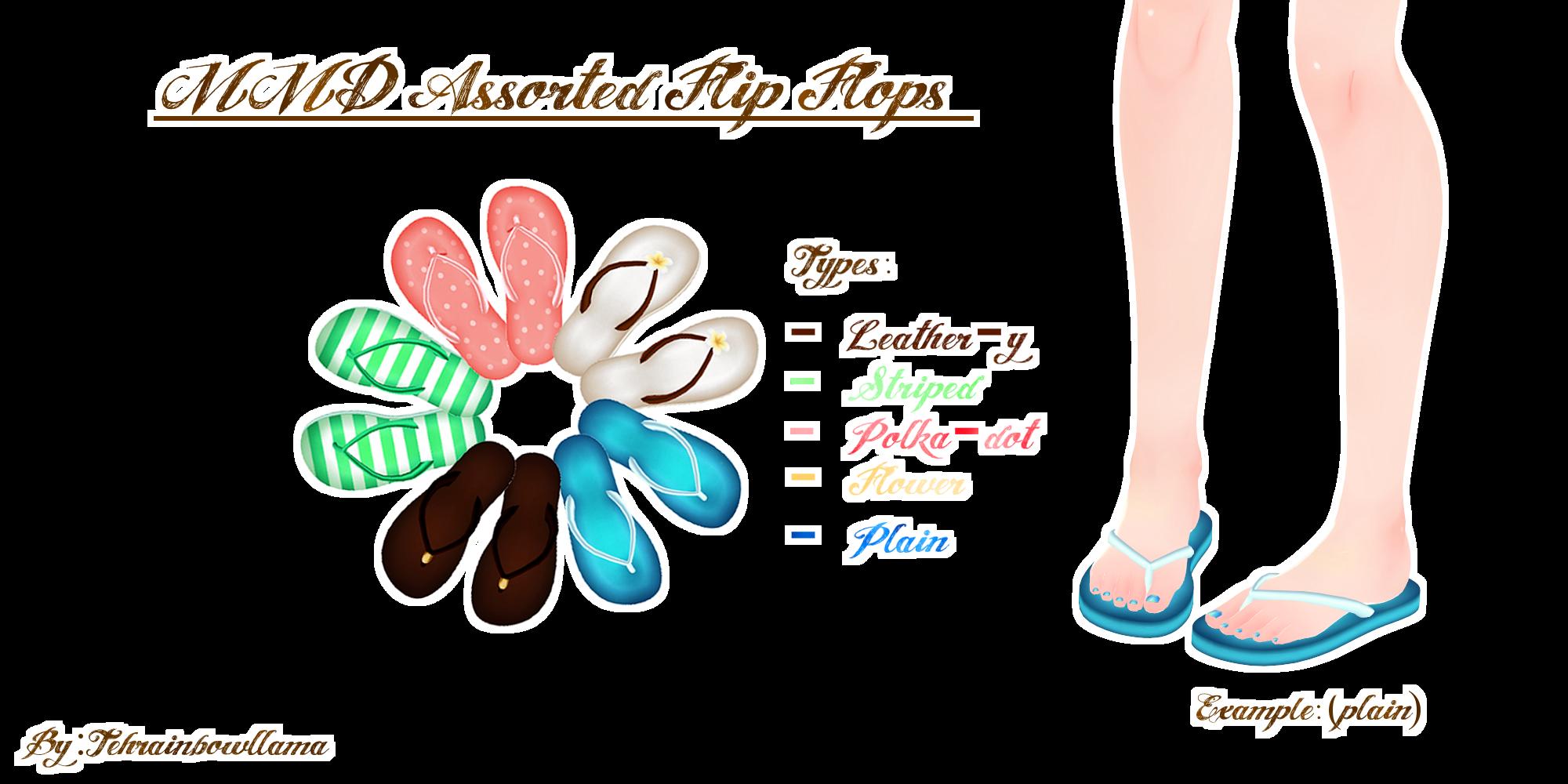 MMD Assorted Flip Flops by Tehrainbowllama