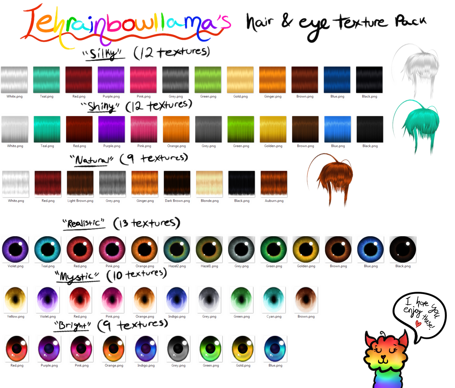 Tehrainbowllama's Hair and Eye Texture Pack by Tehrainbowllama