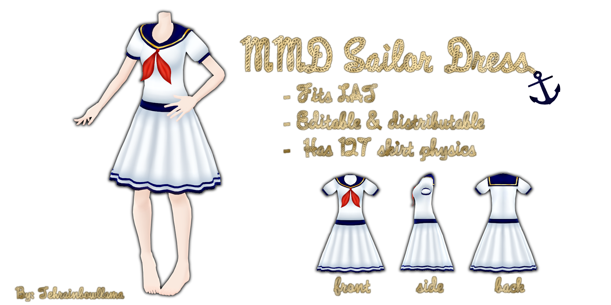 MMD Sailor Dress by Tehrainbowllama